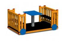 Vagónik drevený so stolčekom