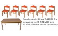 stôl obdĺžnik pr. v.46+stoličky v.26