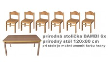 Set prír. stôl obdĺžnik v.46 cm + stoličky v.26