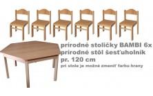 stôl 6úhelník pr. v.46 + stoličky v.26