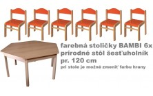 stôl 6úhelník pr. v.46 +far. stoličky v.26