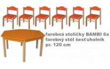 stôl 6úholník far. v.46+far.stoličky v.26